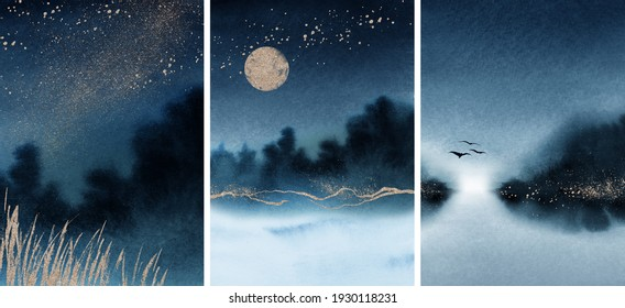 Abstract Arrangements. Landscapes, mountains, night, milky way, moon. Posters. Blue, navy, ivory, beige watercolor Illustration and gold elements. Modern print set. Wall art. Business card. Printable.