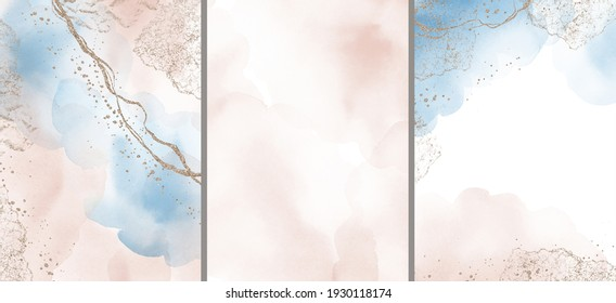 Abstract Arrangements. Prints set. Posters. Blush, pink, blue, navy, ivory, beige watercolor Illustration and gold elements, on white background. Modern printable. Logo. Wall art. Business card. Frame