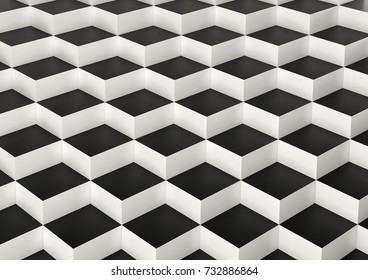 Abstract array of white and black shinny cubes of different height. 3d rendering