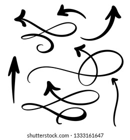 Abstract Arrows set. Doodle hand made marker style. Isolated Sketch illustration for note, business plan, graphic presentation