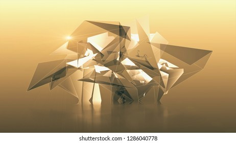 Abstract art 3D illustration tech geometric polygonal triangles structure