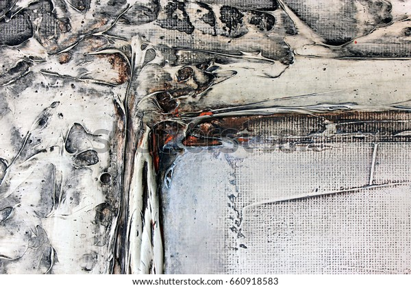 Abstract Art Acrylic Painting On Canvas Stock Illustration