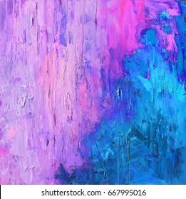 Abstract art background in bright blue and gentle pink violet colors, original oil painting on canvas
