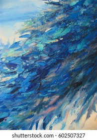 Abstract art background, with heavy brush and palette knife strokes. Original art, oil on canvas, natural blue tones