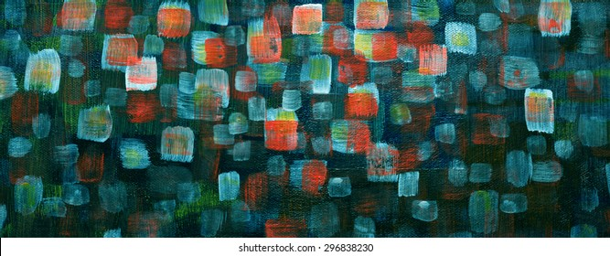 An abstract art background of modern shiny red orange green and white squares with brush strokes of paint texture on dark blue contrasting canvas in an elegant contemporary style design.