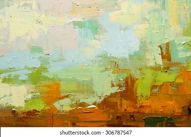 Abstract art  background. Oil painting on canvas. Green, white and brown  texture. Fragment of artwork. Spots of oil paint. Brushstrokes of paint. Modern art. Contemporary art.