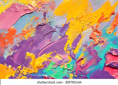 Abstract art  background. Oil painting on canvas. Multicolor light and bright  texture. Fragment of artwork. Spots of oil paint. Brushstrokes of paint. Modern art. Contemporary art.
