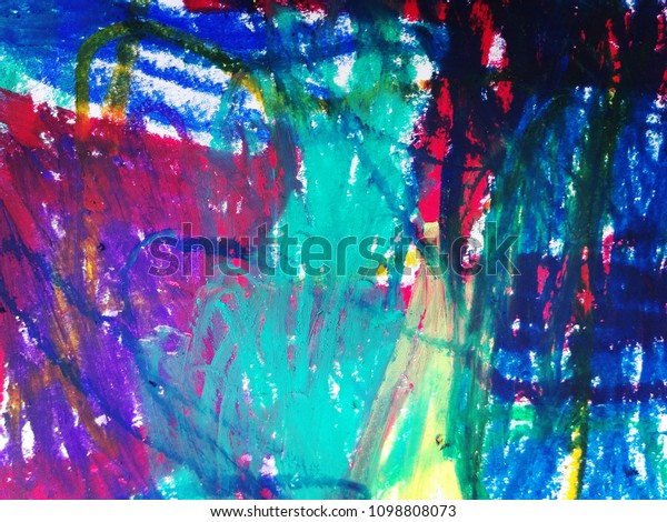Abstract Art Background Oil Pastel Painting Stock