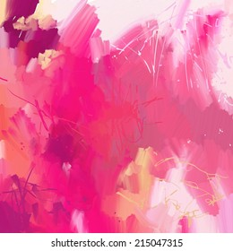 Abstract art background in pink colors. Digital painting.