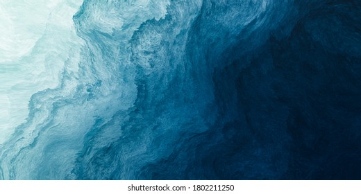 Abstract art blue paint background with liquid fluid grunge texture.
