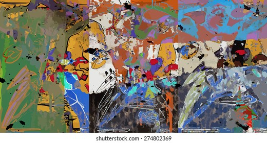 abstract art collage, mixed media