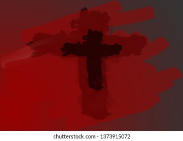 abstract art cross symbol with two tone red color background