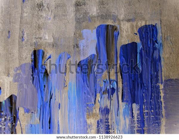 Abstract Art Dark Blue Gray Acrylic Stock Illustration