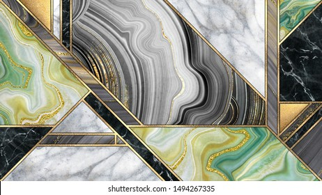 abstract art deco background, modern minimalist mosaic inlay, texture of marble agate and gold, artistic painted marbling, artificial stone, marbled tile surface, minimal fashion marbling illustration