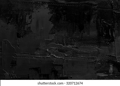 Abstract art. Grunge background. Oil painting on canvas. Black and white texture. Fragment of artwork. Spots of oil paint. Brushstrokes of paint. Modern art.
