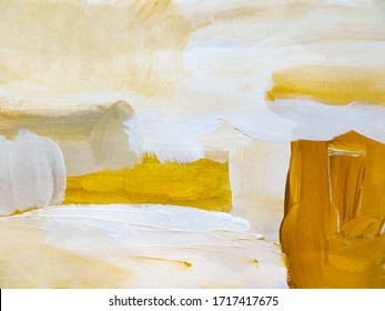 Abstract Art Painting background. Modern art landscape. Contemporary art. Beige, brown, white, gold, color.