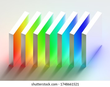 Abstract art of standing up flat cubes, rainbow colored on white background. 3d illustration