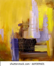 Abstract art in yellow and gray colors, original oil painting