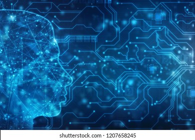 Abstract Artificial intelligence. Creative Brain Concept, Technology web background. Virtual concept, futuristic abstract background