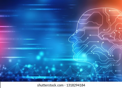 Abstract Artificial intelligence. Technology web background. Human head outline with Binary Codes, Virtual concept, futuristic abstract background