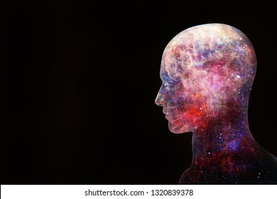 Abstract artistic 3d illustration of modern digital artificial intelligent interface shaped as a human on a black background