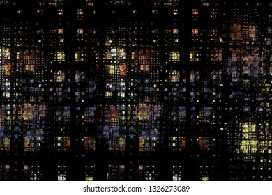 Abstract artistic background design of squares resembling city lights.