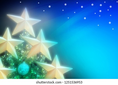 Abstract Artistic Blue Green turquoise gradient illustration background of golden stars on Christmas tree with soft blur image and white snow on Christmas holiday night.