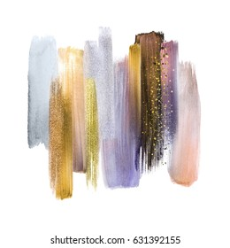 abstract artistic brush strokes, blush silver grey gold palette, blend, smear, color swatches, grunge art, isolated design elements, pastel colors, creative background
