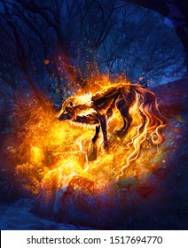 Abstract artistic digital paint of a fiery wolf in an isolated land as a unique artwork
