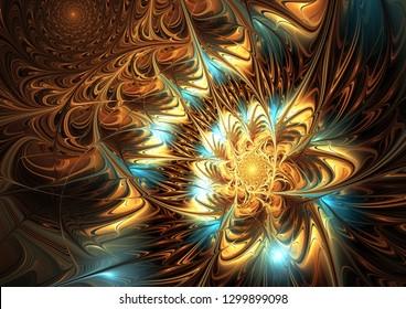 Abstract artistic golden light background. Fine decoration of a desktop, interior, album cover. 3D illustration. Fractal art