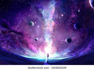 Abstract artistic multicolored dimensional galactic nebula filled with stars and planets hitting a stand alone woman