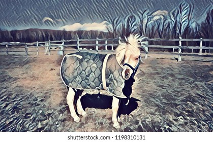 Abstract artistic rendering of an adorable white and brown pony wearing a green winter blanket and standing in a paddock, with the wind blowing it's mane.