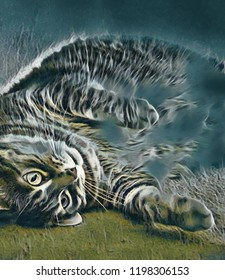 Abstract artistic rendering of a playful looking grey long-haired tabby cat with beautiful markings laying on her side.