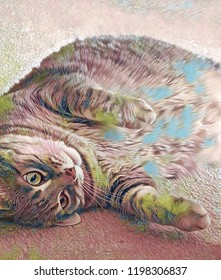 Abstract artistic rendering of a a playful looking grey tabby cat with beautiful pastel shaded markings and stripes laying on her side.