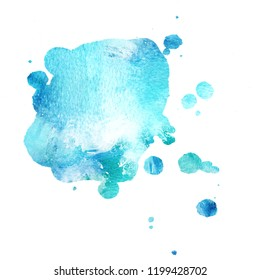 An abstract artistic vibrant teal blue watercolor background texture with copy space, a splash of paint