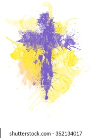 Abstract artistic watercolor paint splats purple Lent cross on yellow background