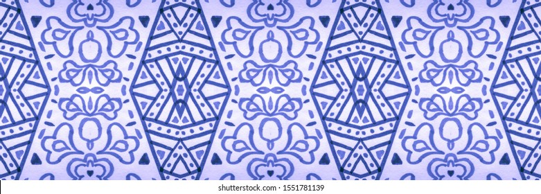 Abstract Asian Ethnic Decor. Watercolor Pattern On Paper Texture. Tie Dye Texture Repeat. Painting Style. Ottoman Carpet. Holiday Blue, Indigo On White.