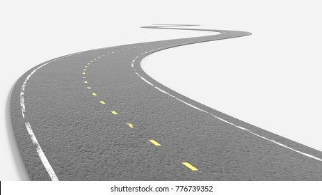 Abstract asphalt road going to the distance isolated on white background. 3D Rendering photo.
