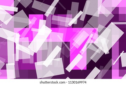 Abstract asymmetric color drawing of quadrilaterals and lines. Lots of randomly arranged abstract quadrilaterals and lines in shades of purple, white and other colors.