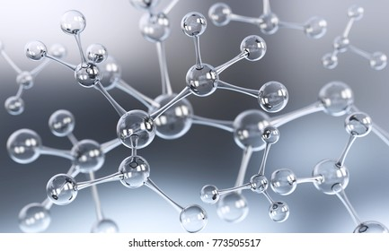 Abstract atom or molecule structure for Science or medical background, 3d illustration.