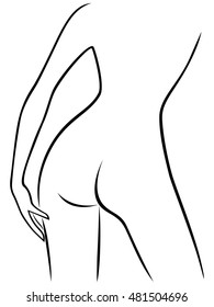 Abstract attractive graceful part of sender female bend body, view from the back, hand drawing artwork