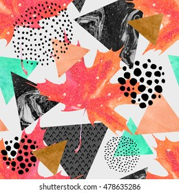 Abstract autumn geometric seamless pattern. Glittering maple leaf, triangles with marble, grunge textures. Abstract geometric background in retro vintage 80s 90s pop art. Hand drawn fall illustration