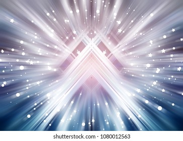 Abstract azure background burst star. Explosion star with particles. Beautiful illustration.