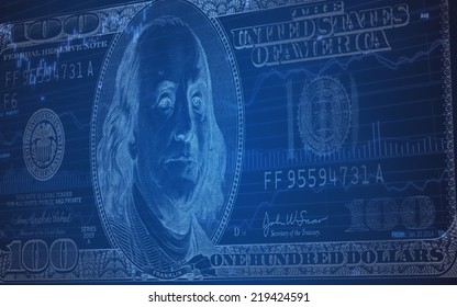 Abstract background of 100 dollar bill on Stock Market Chart