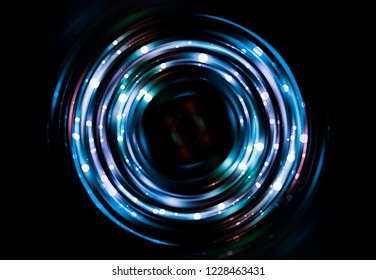 Abstract background azure round tunnel with stars. Fashionable illustration.