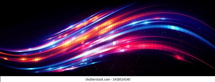 Abstract background. Beautiful light. Magic sparks.  Mystical shine streaks. Empty place. Glint cosmic rays.  Neon wind lines. Glow effect. Power energy.  Futuristic wave Flash. Glare splash.