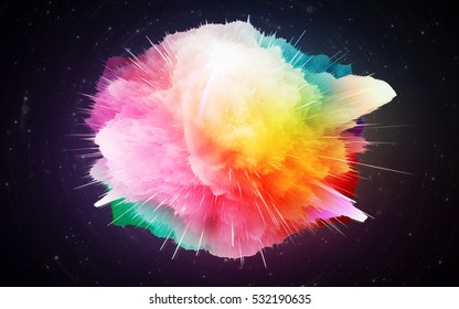 Abstract background - the big bang theory. Explosion flower. Rainbow colors. Origin of the Universe. Nebula beautiful, colorful. Reminds a paint spot. Explosion of a supernova star. Fantastic clouds.