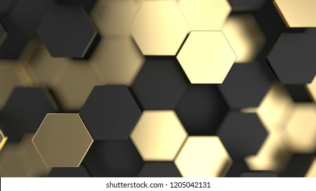Abstract background with black and gold 3d hexagons. 3d render illustration