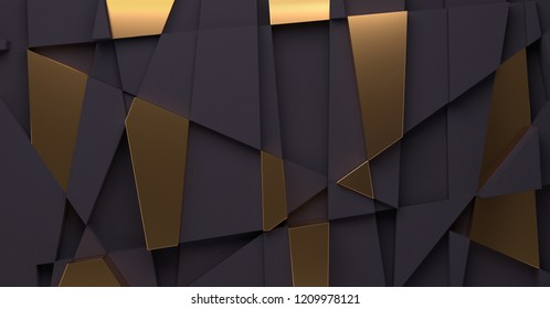 Abstract background with black and gold geometric shapes. 3D render