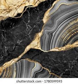 abstrakter Hintergrund, schwarzer Marmor und agatisches Mosaik mit goldenen Venen, japanische Kintsugi-Technik, künstlich gefälschte, gemalte Steintextur, marmorierte Tapete, digitale Marmorgrafik
